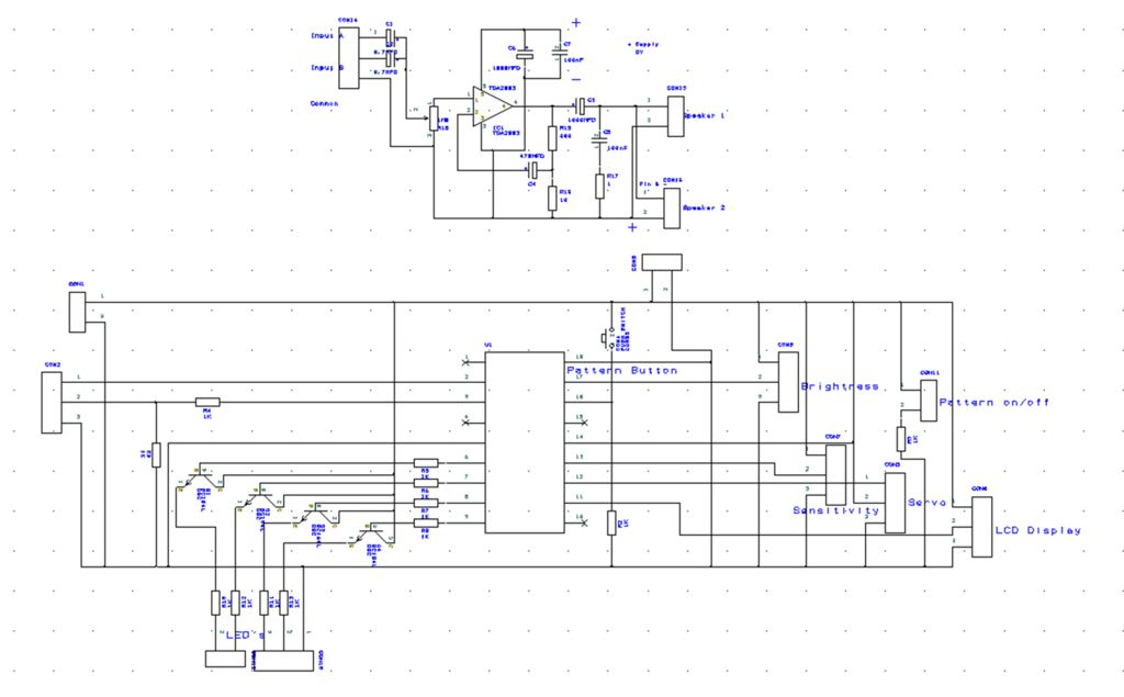 LED Light Show and Audio Amplifier all in one - schematic