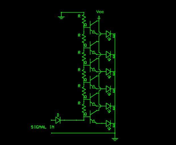 Schmitt Trigger VU Meter - schematic