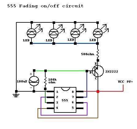 LEDs Fade In/Out Circuit Problem and LED Sequencer - schematic