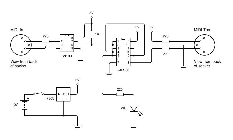 meter counter > Checker Circuits > MIDI Tester Schematic