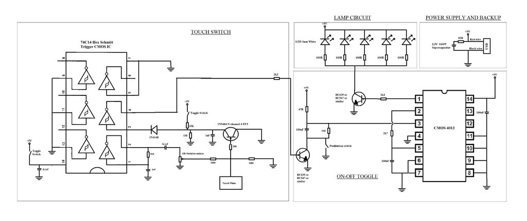 Touch switch circuit - schematic