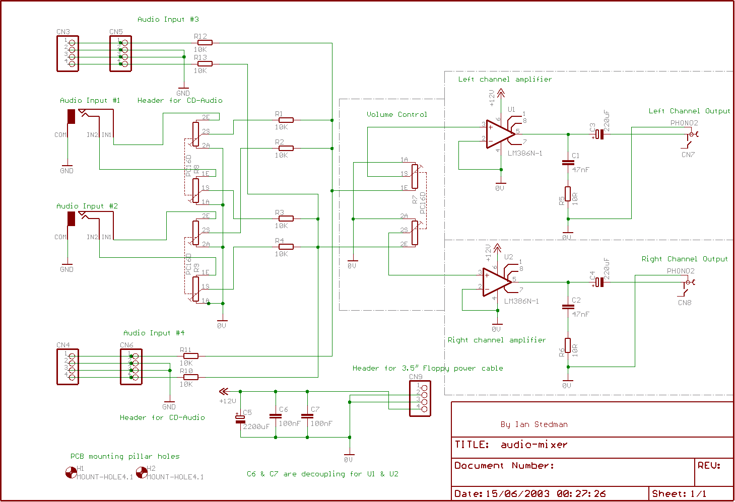 Audio Mixer Circuit Page 4 Circuits Simple Sound Effects Electronic Projects Schematic