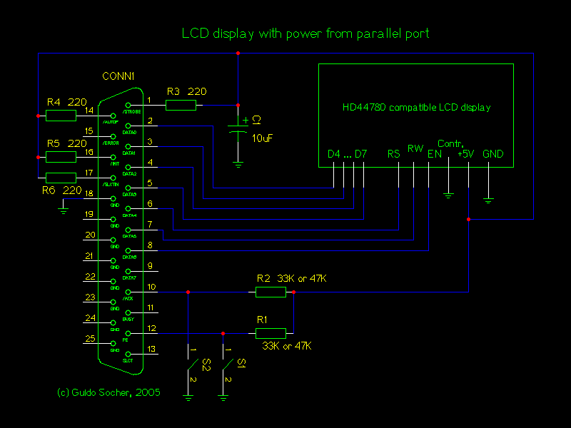 LCD displays easy to use and easy to build - schematic