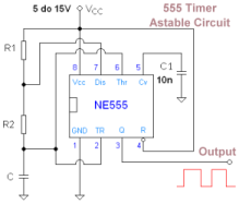 555 IC Square Wave Oscillator circuit - schematic