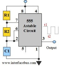 555 IC Astable multivibrator circuit - schematic