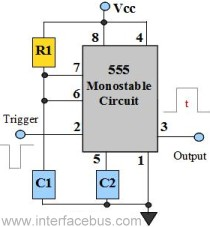 555 IC Monostable multivibrator circuit - schematic