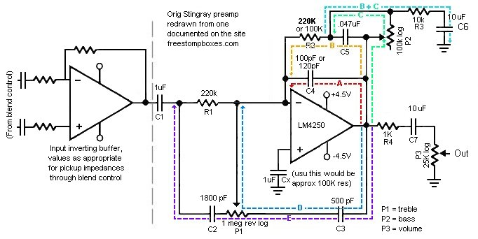 Understanding the Music Man Stingray 2-band preamp - schematic