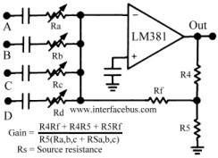 Audio Mixer Circuit - schematic