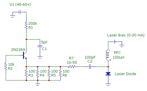 Speed of Light with Nanosecond Pulsed 650 nm Diode Laser - schematic