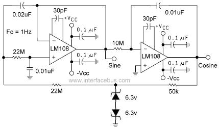 Cosine wave Oscillator - schematic