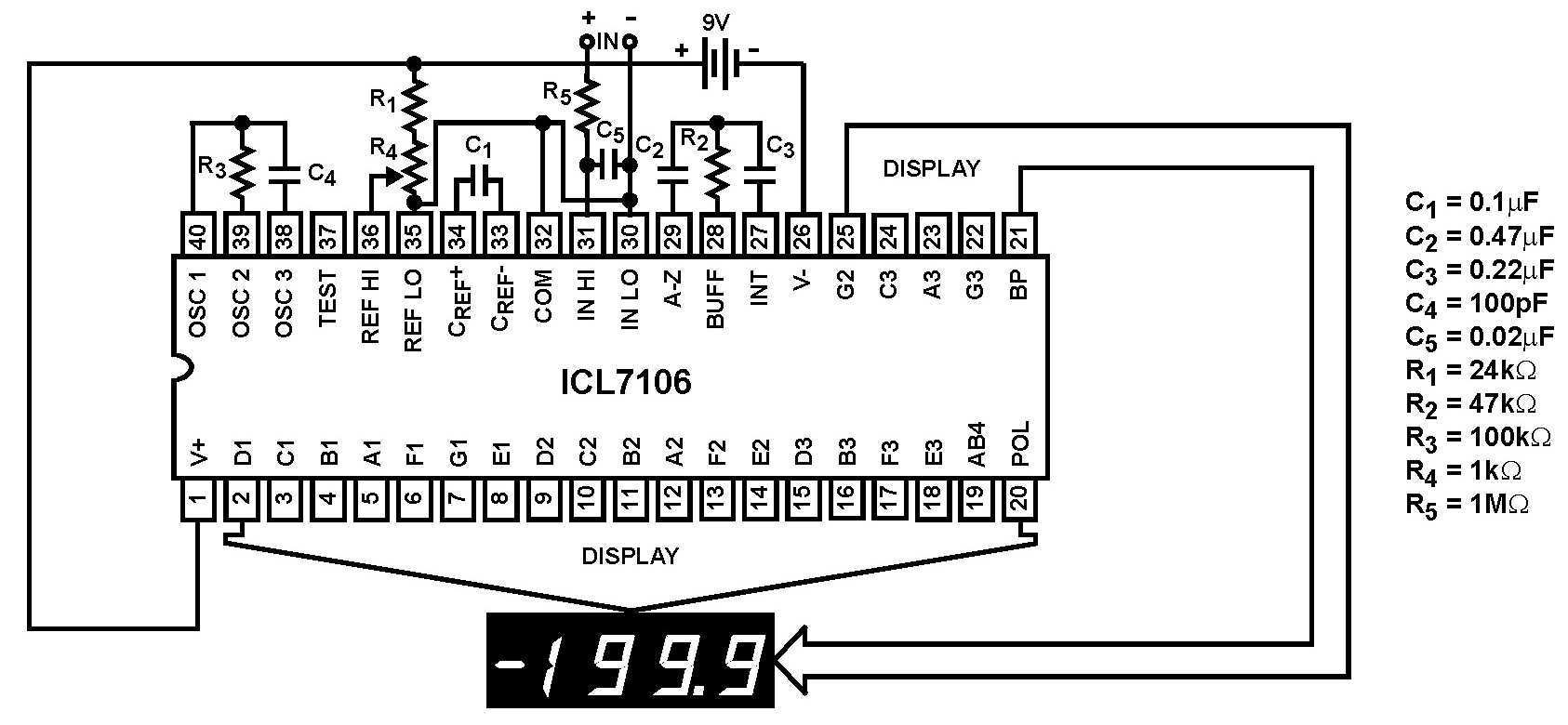 pin icl7106 digital voltmeter circuit on pinterest