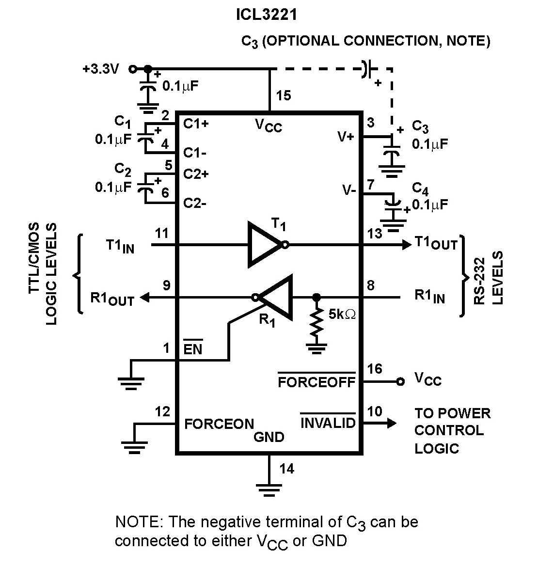 ICL3232 250kbps RS-232 Transmitters/Receivers - schematic