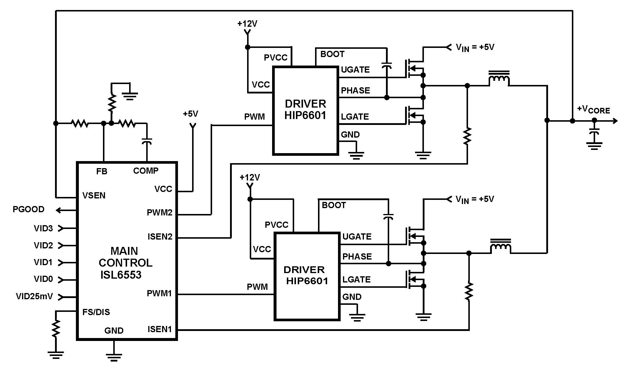 isl6553 microprocessor core voltage regulator 2 phase buck pwm controller under repository