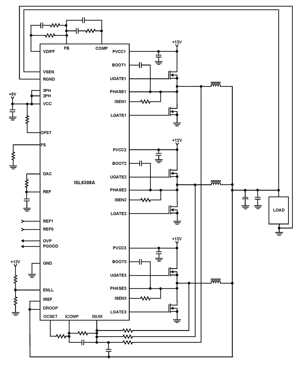ISL6308A Three-Phase Buck PWM Controller with High Current Integrated MOSFET Drivers - schematic