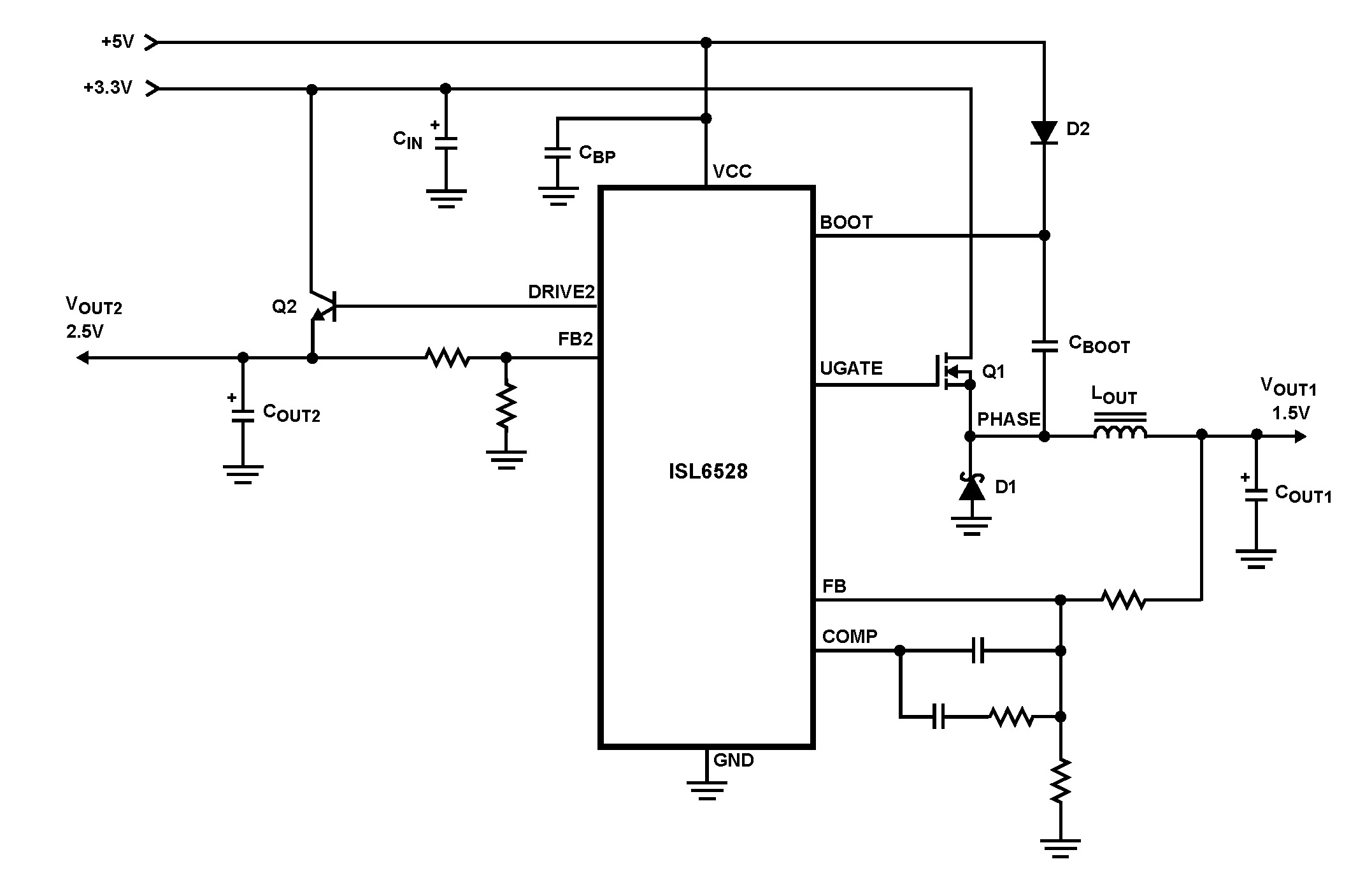 ISL6528 Dual Regulator-Standard Buck PWM and Linear Power Controller - schematic