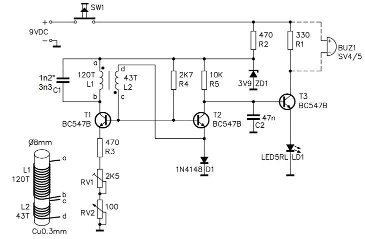 Homemade Metal Detector Kit - schematic