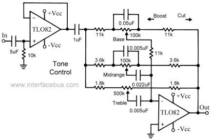 3-Band Active Audio Tone Control Circuit - schematic