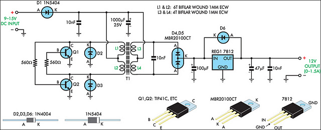 12V Regulated Inverter Supply - schematic