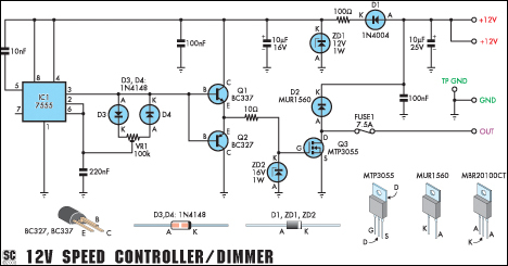 12V Speed Controller/Dimmer - schematic