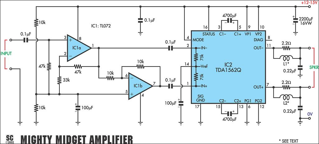 36 watt0 audio power amplifier circuit diagram - schematic