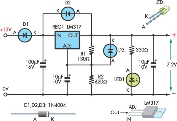 7.2V Battery Replacement Power Supply For Camcorders - schematic