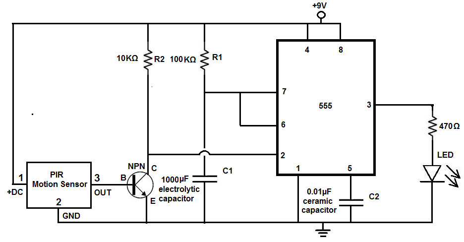 Motion Sensor Light Circuit - schematic
