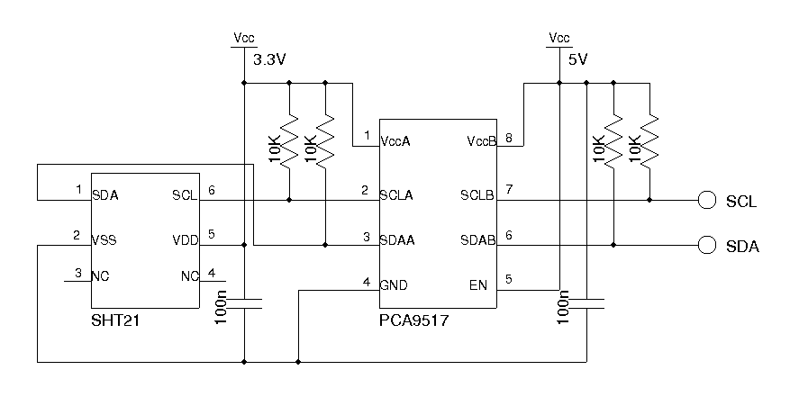 A Dual Temperature Display With Humidity Measurement - schematic