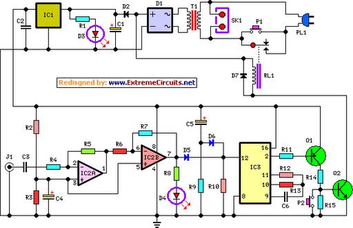 Amplifier Timer Circuit Schematic - schematic