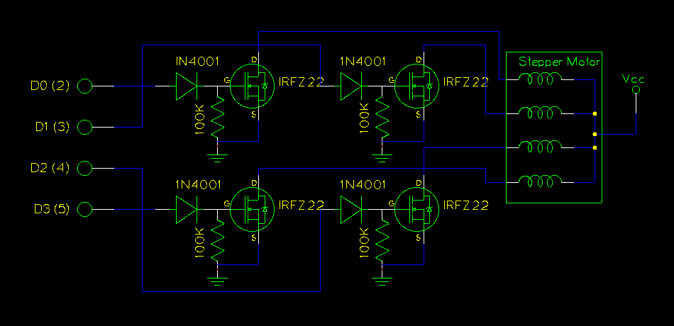 Parallel Port Stepper Motor Driver With Discrete Components - schematic