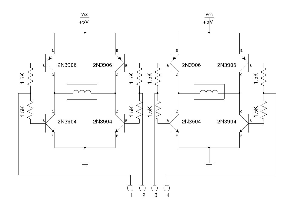 Circuits a simple dual h bridge l46319 for Simple stepper motor circuit