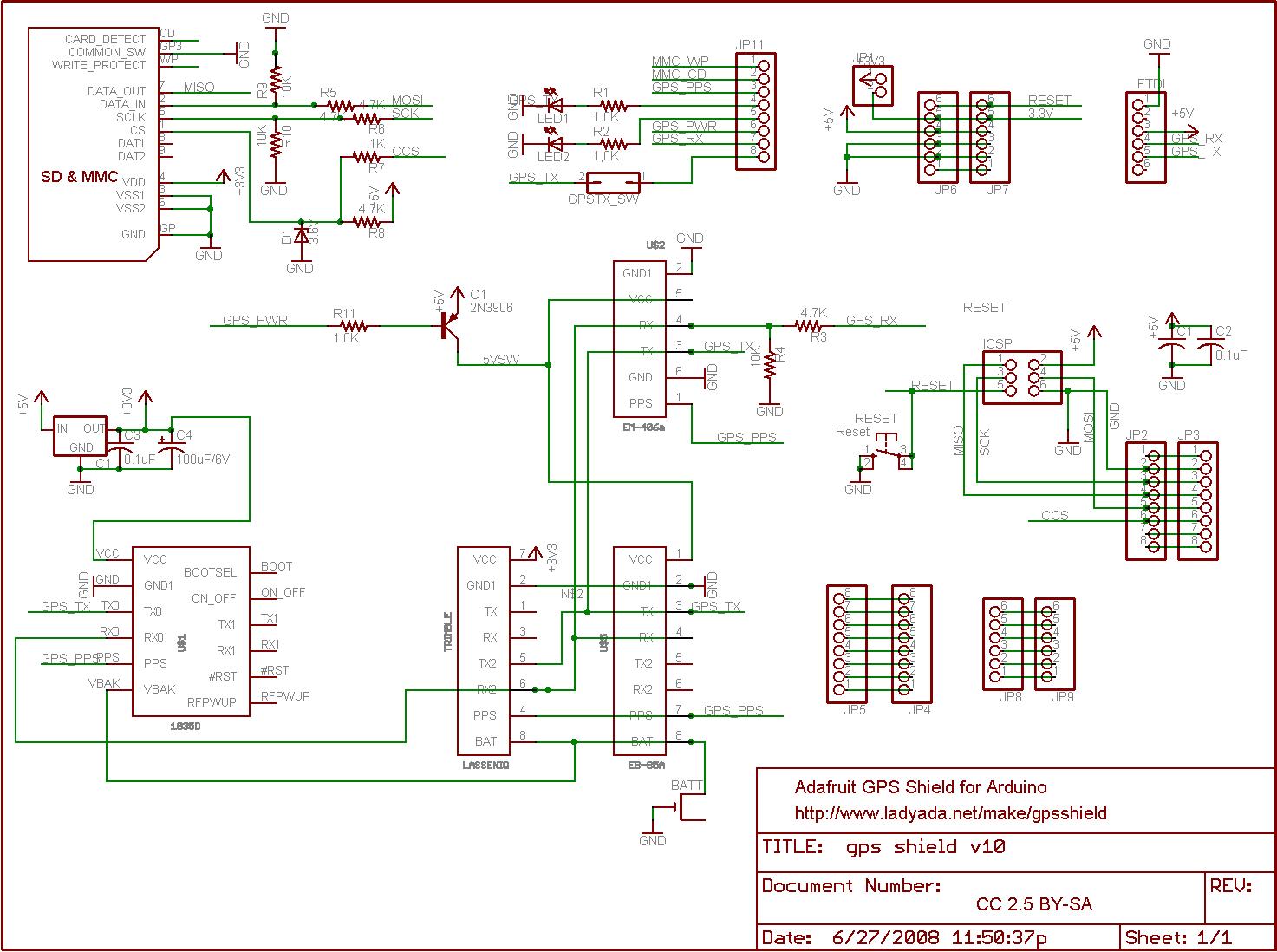 GPS datalogging shield for Arduino - schematic