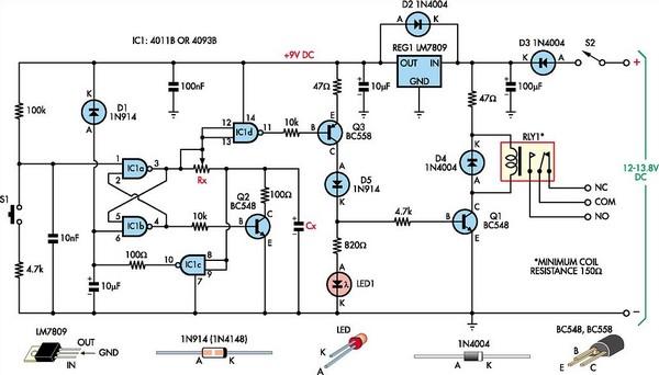 Multipurpose Flip-Flop Timer - schematic