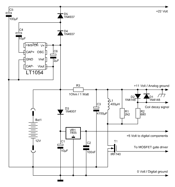pulse induction metal detector with DSP - schematic