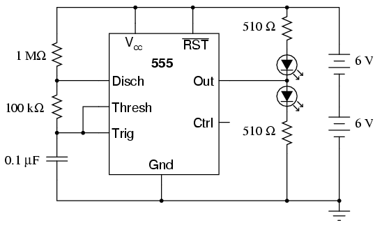 555 audio oscillator - schematic