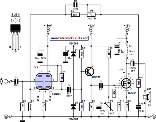 simple hybrid audio amplifier