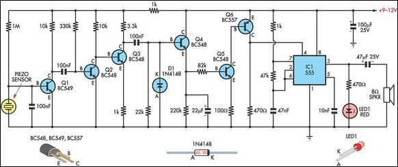 Simple Knock Alarm With Piezo Sensor - schematic