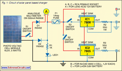 Solar Panel Based Charger And Small LED Lamp - schematic