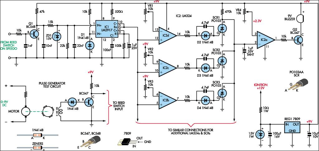 Speed Alarm For Cars - schematic