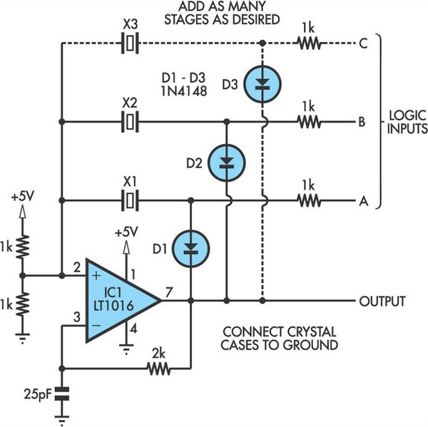 Switchable Output Crystal Oscillator - schematic