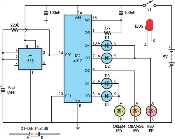 stop light wiring diagram stop light schematic diagram traffic lights for model cars or model railways under ...