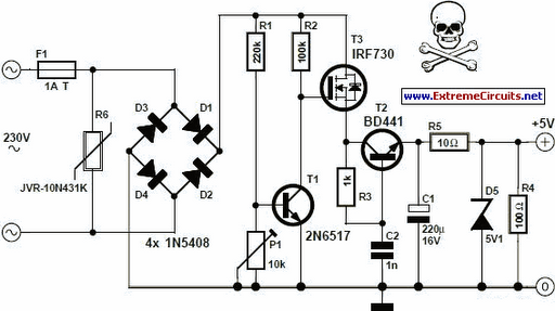 Transformerless 5 Volt Power Supply - schematic