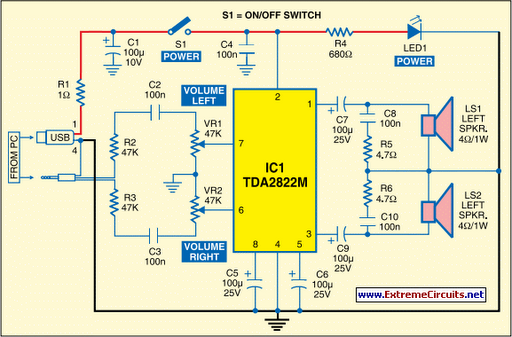 60w Car Audio Amplifier Circuit Using Tda2822m