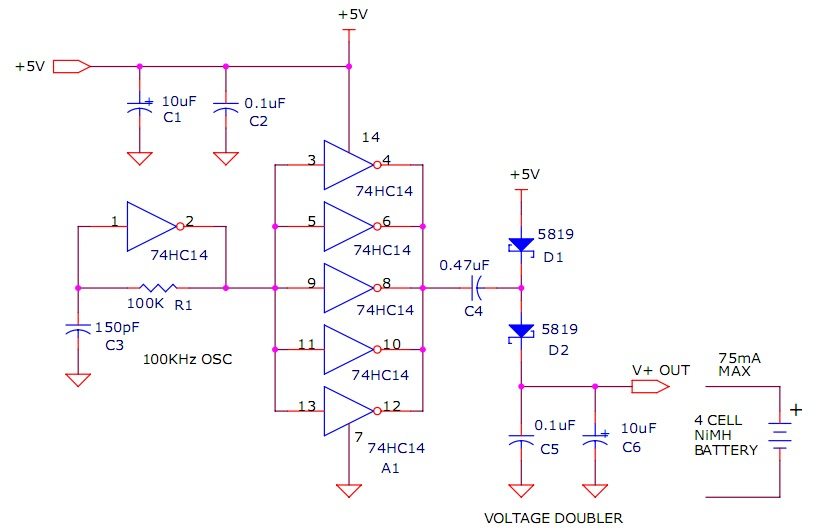 5v Powered Charge Pump Battery Charger - schematic