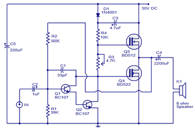 10 Watts Mosfet Audio Amplifier - schematic