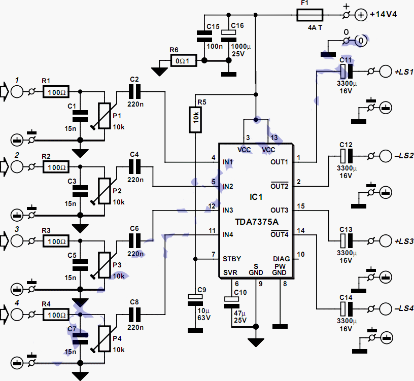 car audio amplifier ic circuit diagram