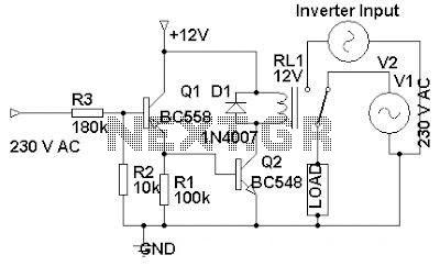 230 volt ac to inverter switching - schematic