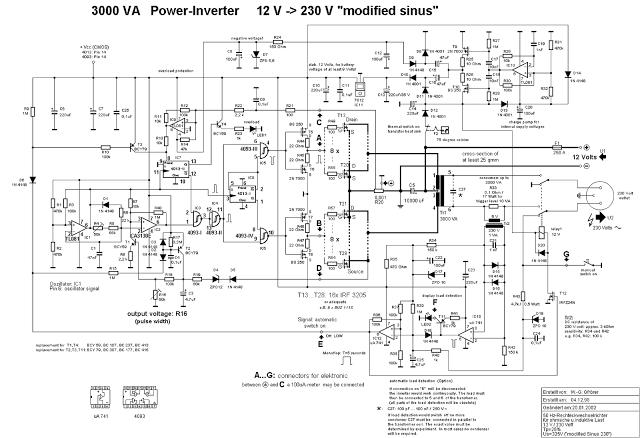 3000 watt power inverter 12V DC to 230V AC - schematic