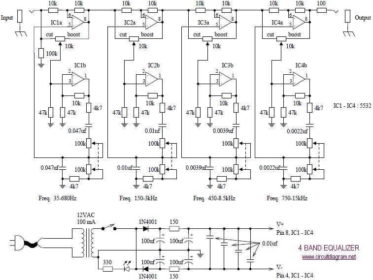 4 Band Equalizer schematic diagram - schematic