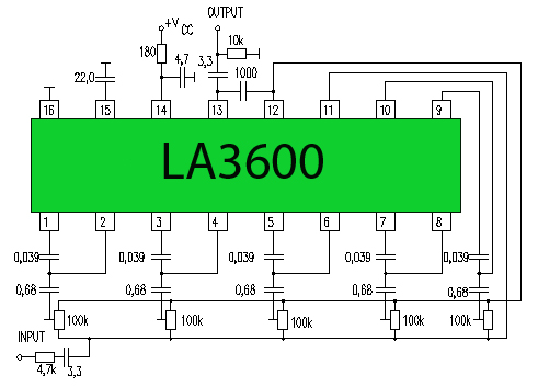 LA3600 5 Band Equalizer Circuit - schematic