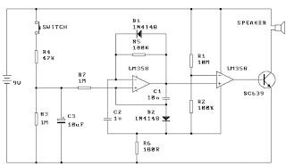 siren alarm circuit diagram usng lm358 - schematic